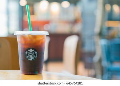 BANGKOK, THAILAND - MAY 21, 2017 Iced Espresso coffee at Starbucks shop. Starbucks is the world largest coffee house.