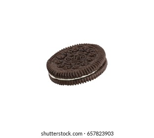 BANGKOK, Thailand - May 21, 2017: OREO cookie consisting of two chocolate wafers with a sweet creme filling in between (American cookie brand) on white background