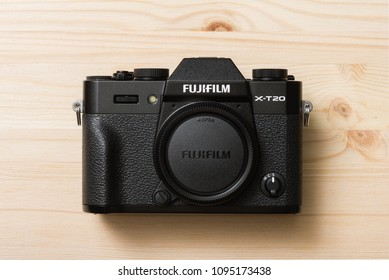 BANGKOK, THAILAND - MAY 21, 2018: The Fujifilm X-T20 mirrorless digital camera. The Fujifilm X-T20 is one of FUJIFILM's X Series, announced by Fujifilm on January 19, 2017.