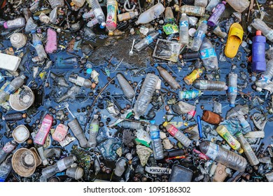 BANGKOK, THAILAND - MAY 21, 2018: Problem of metropolis, Dirty canal with plastic bottle and other garbage  are cause of flooding.