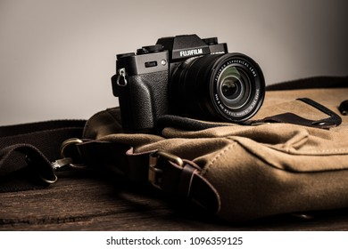 BANGKOK, THAILAND - MAY 21, 2018: The Fujifilm X-T20 attatched with Fujinon XC 16-50 mm lens. The Fujifilm X-T20 announced by Fujifilm on January 19, 2017.
