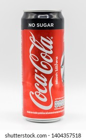 Bangkok, Thailand - May 21, 2019 : Limited edition Coca cola coke no sugar can on white background, Avengers endgame Marvel studios printed on canned