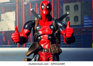Bangkok, Thailand - May 21,2018- Kaiyodo, the Japanese figure/model manufacturer, launch action figure series Comic Revol, base on famous Marvel's character Deadpool