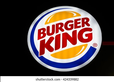 BANGKOK, THAILAND MAY 22, 2016 - Logo of the fast food chain Burger King in Bangkok, Thailand at night time. Burger King is a global chain of hamburger fast food restaurants