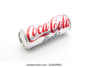 Bangkok, Thailand - May 22, 2017: A can of Coca Cola drink isolated over a plain white background. Coca-Cola is a carbonated soft drink sold in stores, restaurants, and vending machines worldwide.