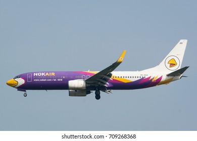 Bangkok , Thailand - May 23, 2017. Nok Air Boeing 737-800 (HS-DBA) on final approach to Donmueang International Airport.