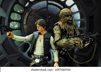 Bangkok, Thailand- May 23,2018 - Bandai , the Japanese toys / figure manufacturer, launch action figure series S.H Figuarts base on Star Wars character Han Solo and Chewbecca