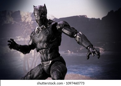 Bangkok, Thailand- May 23,2018 - Bandai , the Japanese toys / figure manufacturer, launch action figure series S.H Figuarts base on famous Mavel's character the Black Panther