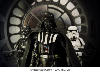 Bangkok, Thailand- May 23,2018 - Medicom, the Japanese toys / figure manufacturer, launch action figure series Mafex base on Star Wars character Darth Vader and his Strom Troopers