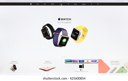 Bangkok, Thailand - May 24, 2016: Close up Apple Inc. website on imac retina screen showcasing the apple watch new wearable technology device available for sell online