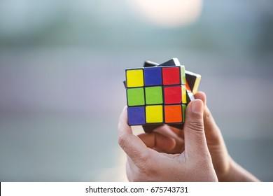 BANGKOK, THAILAND - MAY 24, 2016: Rubik's cube.
