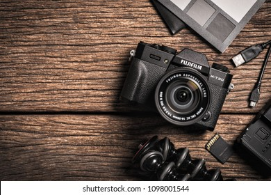 BANGKOK, THAILAND - MAY 24, 2018: The Fujifilm X-T20 mirrorless digital camera and camera accessories. The Fujifilm X-T20 is one of FUJIFILM's X Series, announced by Fujifilm on January 19, 2017.