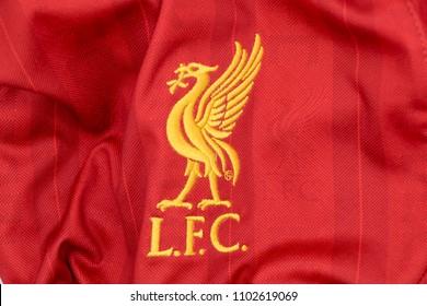 Bangkok / Thailand - May 24 2018 : Liverpool football club logo on jersey