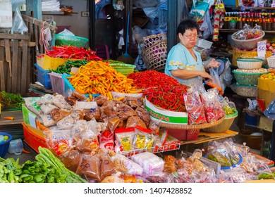 BANGKOK, THAILAND - MAY 24: Vegetables  stall at thai local fresh market in Bangkok on May 24, 2019.