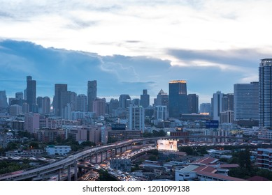 Bangkok, Thailand - May 25, 2018 : Cityscape and transportation with expressway and traffic in night time from skyscraper of Bangkok. Bangkok is the capital and the most populous city of Thailand.