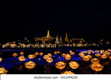 Bangkok, Thailand - May 25, 2019: LED flowers light decorations at Sanam Luang ground, in front of Wat Phra Kaew and the Grand Palace to the coronation ceremony of King Rama X. Selective focus.