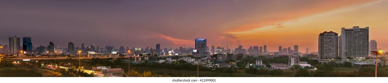 BANGKOK THAILAND -MAY 25 : City scape in the evening on may 25,2016 in bangkok thailand