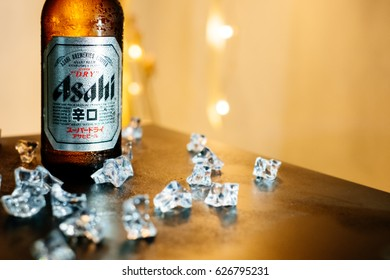 Bangkok Thailand- May 26, 2017: A bottle of Asahi Super Dry Beer closeup on . Asahi was founded in Osaka, Japan in 1889 as the Osaka Beer Company.