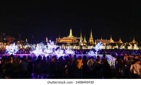 BANGKOK, THAILAND - May 26 ,2019 :Beautiful decorative lights from the led tube to celebrate the coronation of the 10th reign of Thailand at Sanam Luang Bangkok ,Thailand.