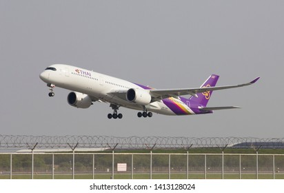 Bangkok Thailand / May 26 2019 / Thai airways Airbus a350-900 takeoff from  Suvarrnabhumi Airport VTBS.