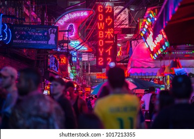 Bangkok, Thailand - May 27, 2017: Signboards of Soi Cowboy at night, a famous red-light street, one of the centers of prostitution and sex tourism in Bangkok city.