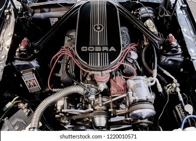 BANGKOK, THAILAND - May 27, 2017: Ford Mustang GT350 Shelby engine bay after cleaning & dressing. Cobra car engine details. Concept of classic car restoration and modification. American Muscle car.