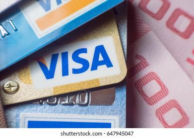 BANGKOK, THAILAND - MAY 27, 2017: Macro of VISA credit cards, Invesment concept. Selective focus.