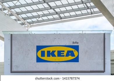 Bangkok, THAILAND - May 27, 2019.  IKEA billboards under the roof with blue sky at MEGA Bangna shopping mall