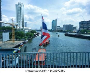 Bangkok, Thailand – May 27,2019 : Landscape City, Sapan Taksin Bridge, Chao Phraya river of Thailand, Cat telecom building bangrak, ICONSIAM, Bangkok, Shangri-La Hotel Bangkok, Mandarin Oriental