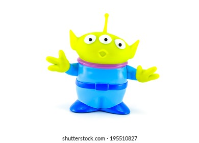 BANGKOK, THAILAND - May 28, 2014 : The Alien Figure toy form Toy Story Movie character. There are PVC toy and glow in the dark.