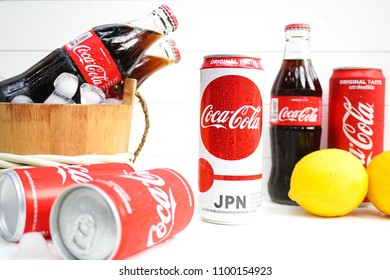 Bangkok, Thailand - May 28, 2018 : A photo of Coke cans and bottles with selective focus on the Coke Japan version to support Japan team in FIFA World Cup 2018 in Russia from 14 June - 15 July 2018.