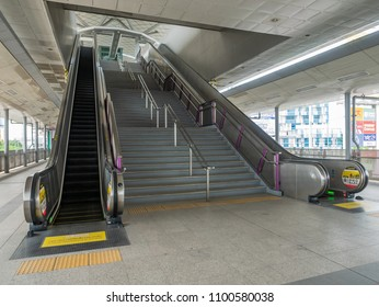 Bangkok, Thailand - May 28, 2018: Bangkok is building new commuter rail lines at a fast pace. Here is the interior of Talat Bang Yai Station on the Purple Line, opened in August 2016.
