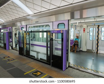 Bangkok, Thailand - May 28, 2018: Bangkok is building new commuter rail lines at a fast pace. Here is a peak into one of the J-TREC Sustina trainset at Khlong Ban Phai Station on the Purple Line.