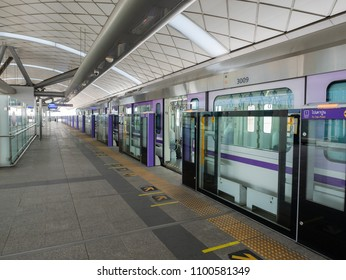 Bangkok, Thailand - May 28, 2018: Bangkok is building new commuter rail lines at a fast pace. Here is one of the Japanese J-TREC Sustina trainset at Khlong Ban Phai Station on the Purple Line.