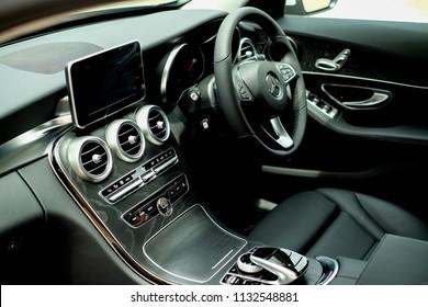 BANGKOK, THAILAND - MAY 28, 2018:  Interior of Mercedes Benz C350e avantgrade plug-in hybrid.