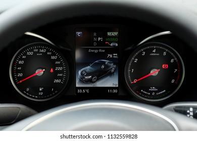 BANGKOK, THAILAND - MAY 28, 2018: Modern Car dashboard and Center Screen Display of Mercedes Benz C350e avantgrade plug-in hybrid.