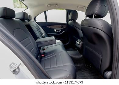 BANGKOK, THAILAND - MAY 28, 2018: Back seat car interior of Mercedes Benz C350e avantgrade plug-in hybrid.