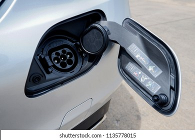BANGKOK, THAILAND - MAY 28, 2018:  Mercedes Benz C350e Plug-in Hybrid   with j1772 Socket universal for EV Charger at rear bumper