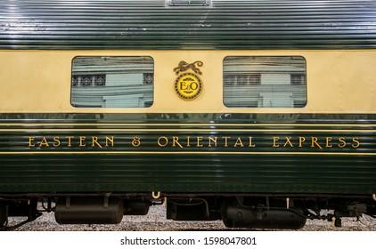 BANGKOK, THAILAND, MAY 28, 2018: the Eastern & Oriental Express Luxury Trains at Hua Lamphong railway station, Bangkok, Thailand