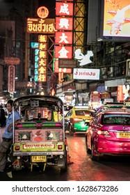 BANGKOK, THAILAND, MAY 28, 2018: Tuk-tuk taxi parked near Yaowarat road, Chinatown, Bangkok, Thailand