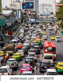 BANGKOK, THAILAND, MAY 28, 2019: car and vehicle that cause of traffic on the road at Ratchaprasong District, Bangkok, Thailand