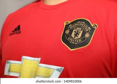 BANGKOK, THAILAND - MAY 28: The Logo of Manchester United Football Club on the Jersey on May 28,2019