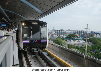 Bangkok, Thailand - May 29 2016 The first test run of MRT purple line begins test running between Tao-Poon to Khlong-Bang-Phai
