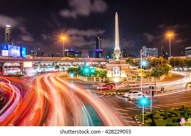Bangkok, Thailand - May 29, 2016: Night view at Victory Monument in the city center of Bangkok.