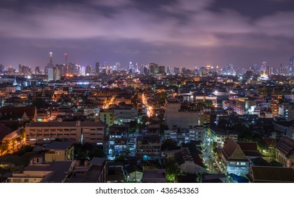 BANGKOK, THAILAND - MAY 29 2016: Bangkok cityscape in the night time.