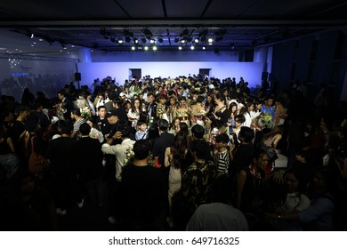 """Bangkok, Thailand - May 29, 2017 ; Graduated Fashion Show of """"Ultimate Source X"""" by Bangkok University, Fashion Design Thesis at The Emquartier Department Store"""