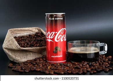 BANGKOK, THAILAND - May 29, 2018: Close up of Coca Cola Plus Coffee, a new innovation of Coca Cola.