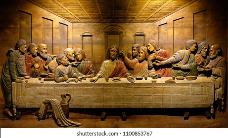 Bangkok, Thailand - May 29, 2018 : Last Supper image made of wood carving. This masterpiece is a work of Leonardo da Vinci.