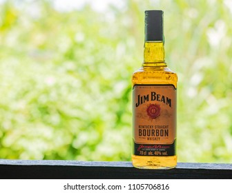 BANGKOK, THAILAND - MAY 29, 2018 : Jim beam, Bourbon whiskey it's come to sell in Thailand.