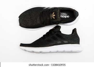 BANGKOK, THAILAND - MAY 29, 2018: Adidas swift run w black color 2018 sports shoes for running for woman - illustrative editorial